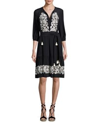 Figue Embroidered 3 4 Sleeve Dress Onyx