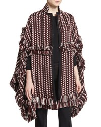 Burberry Fringed Jacquard Blanket Cape Russet Brown Brown Medium