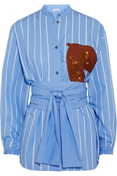 Jonathan Saunders Alex Appliqued Pinstriped Cotton Poplin Shirt