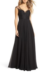 Hayley Paige Occasions 'S Mixed Media A Line Gown Black