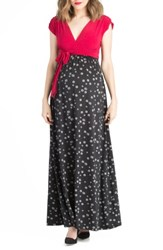 Lilac Clothing Women's Colorblock Nursing Maxi Dress Black Fuschia
