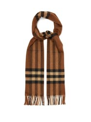 Burberry Classic Checked Cashmere Scarf Brown