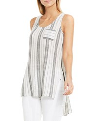 Vince Camuto Crinkled Striped Cotton Tank Top New Ivory
