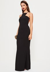 Missguided Black Square Neck Cross Back Maxi Dress