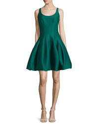 Halston Heritage Sleeveless Cocktail Dress W Structured Tulip Skirt Green