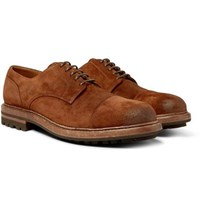 Brunello Cucinelli Cap Toe Burnished Suede Derby Shoes Brown