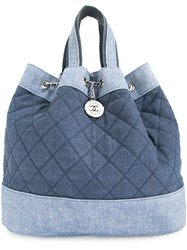 Chanel Vintage Quilted 2Way Chain Backpack Hand Bag Blue