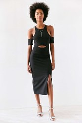 Finders Keepers Leon Cutout Cold Shoulder Bodycon Midi Dress Black