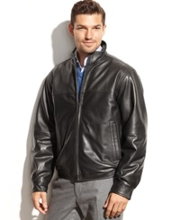 Perry Ellis Smooth Leather Bomber Jacket
