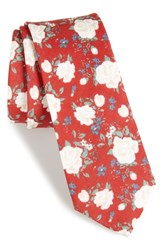 The Tie Bar Hodgkiss Flowers Linen Red