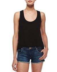 Alice Olivia Darin Leather Trim Babydoll Tank Black