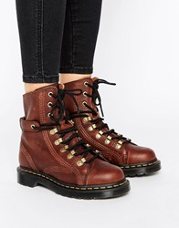 Dr. Martens Dr Coraline Chunky Lace Up Hiker Boots Dark Brown Grizzly