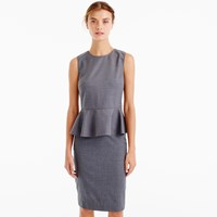 J.Crew Petite Peplum Top In Super 120S Wool