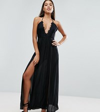 Naanaa Maxi Dress With Double Thigh Split And Lace Trim Black