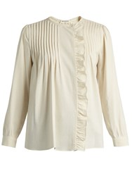 Masscob Pintucked Ruffle Trimmed Silk Top Cream