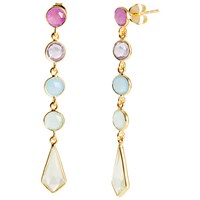 Auren 18Ct Gold Plated Sterling Silver Deco 5 Drop Gemstone Earrings Gold Multi