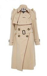 Burberry Asymmetrical Drape Trenchcoat Tan