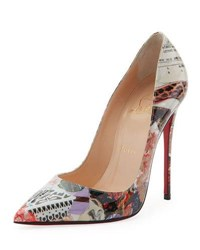 Christian Louboutin So Kate Printed Patent Red Sole Pump Multi