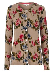 Tulchan Retro Rose Print Cardigan Natural