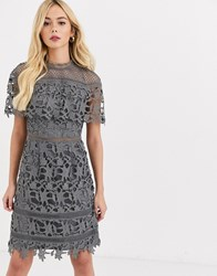 Chi Chi London High Neck Lace Pencil Midi Dress In Charcoal Grey