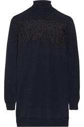 Thakoon Lace Paneled Wool Turtleneck Sweater Blue