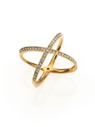 Michael Kors Brilliance Statement Pave X Ring Goldtone