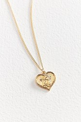 Vintage Heart Angel Charm Necklace Gold