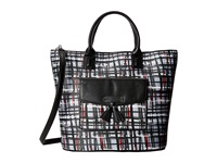Vera Bradley Tassel Tote Black White Art Plaid Tote Handbags
