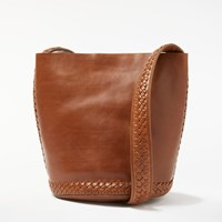 And Or Isabella Leather Whipstitch Small Bucket Bag Tan