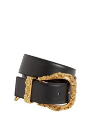 Versace 40Mm Leather Belt W Gold Buckle Black