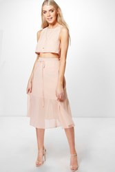 Boohoo Woven Crop And Wrap Midi Skirt Co Ord Blush