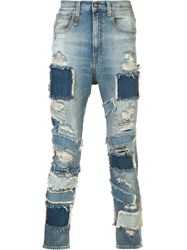 R 13 R13 Patched Frayed Cropped Jeans Blue