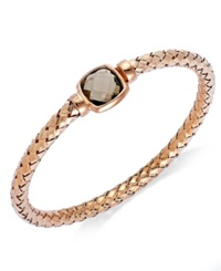The Fifth Season By Roberto Coin 18K Rose Gold Over Sterling Silver Bracelet Smokey Quartz Polished Woven Bracelet 6 Ct. T.W.