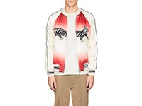 Ovadia And Sons Leopard Print Reversible Silk Souvenir Jacket White