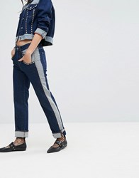 Tommy Hilfiger Gigi Hadid Mid Rise Crop Straight Jean With All Over Studs Liv Blue