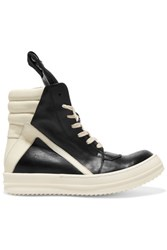 Rick Owens Two Tone Leather Sneakers Black