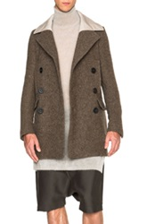 Rick Owens Army Blanket Tube Pea Jacket In Brown