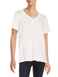 Context Crocheted Shoulder Tee Ivory