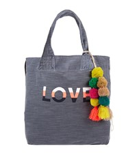 Sundry Pom Pom Love Tote Bag Navy