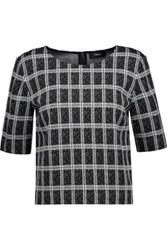 Theory Cropped Checked Jacquard Knit Sweater Black