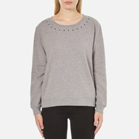 Maison Scotch Women's Crew Neck Sweatshirt With Star Neck Detail Grey