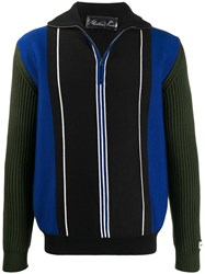Martine Rose Striped Zip Up Jacket Black