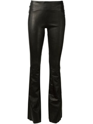 Getting Back To Square One Flared Leather Trousers Black
