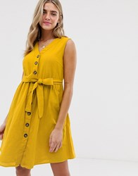 Pieces Button Tie Front Mini Sundress Yellow