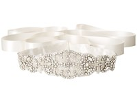 Nina Satin Crystal Beaded Satin Ivory Belts White