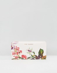 Ted Baker Small Purse In White Floral Print Nude Pink