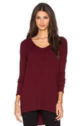 Michael Stars Wide V Neck Hi Low Slit Tee Burgundy