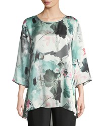 Caroline Rose Paradise Found Floral Print Silk Party Top Multi White