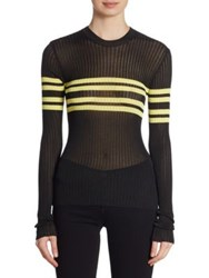 Msgm Sport Striped Sweater Black Yellow