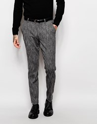 Asos Slim Suit Trousers In Textured Fabric In Black And White Navy